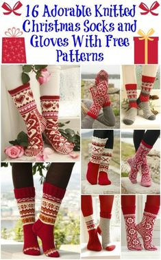 Knitting Patterns Christmas 16 Adorable Knitted Christmas Socks and Gloves With Free Patterns Crochet Socks, Knit Mittens, Knit Or Crochet, Knitting Socks, Free Knitting, Knitting Patterns, Knit Socks, Knitting Needles, Knitted Slippers