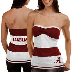 labama Crimson Tide Ladies Crimson-White Striped Rebound Tube Top