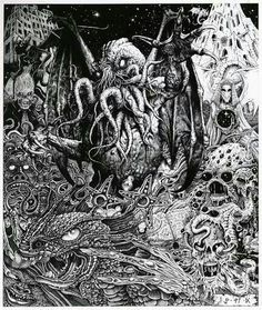 Martin McKenna Cthulhu and old ones Lovecraft Cthulhu, Hp Lovecraft, Arte Horror, Horror Art, Call Of Cthulhu Rpg, Cyberpunk, Lovecraftian Horror, Eldritch Horror, Dark Art Illustrations