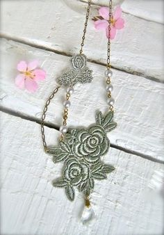 Silver Grey tinted Lace Necklace Rose by dancingleafdesign on Etsy, $49.00
