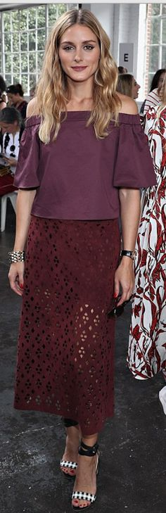 Who made  Olivia Palermo's dark red lace skirt and purple off the shoulder top?