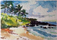 Aceo Vosberg Trees Maui Hawaii Island Original Watercolor Miniature