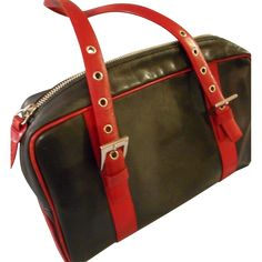 Vintage Black and Red Leather Classic Handbag by Caslon --- The Ruby Red Tag Sale is on! 50% off for 96 hours from 8 am Friday, Nov 25th to 8 am Tuesday, Nov 29th. www.rubylane.com #RubyRedTagSale @Ruby Lane
