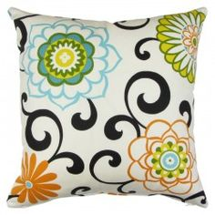 "Pillows By Dezign. This Orange and Multi colored fun ""circus"" pattern can easily be used to liven things up."