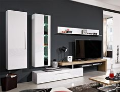 Arte-M Medio TV & Wall Storage System in High Gloss White and Oak
