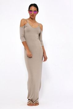 Bodycon maxi dress with an open shoulder cut out and cami neckline. Casual Day Dresses, Dresses Uk, Trendy Outfits, Trendy Clothing, Office Fashion, Cold Shoulder Dress, Office Style, Taupe, How To Wear