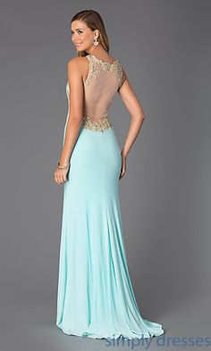 Dresses, Formal, Prom Dresses, Evening Wear: Floor Length Sleeveless Lace Embellished Dress