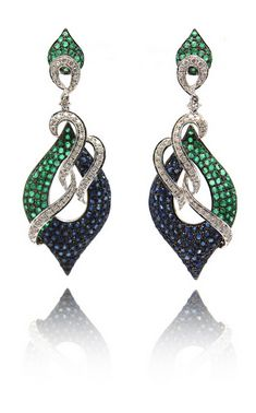 Light weight cocktail earrings with a mix of blue sapphires, green emeralds and white diamonds set in 18K gold. | Luxify | Luxury Within Reach