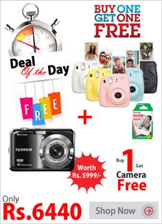 Buy FujiFilm Instax Mini 8 Instant Film Camera and Get Fujifilm FinePix AX500 Camera