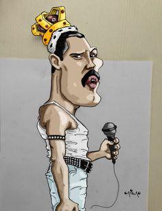 Freddie Mercury Queen Art, Queen Freddie Mercury, John Deacon, Vincent Van Gogh, Caricatures, Nostalgia, Artist, Instagram, Urban Art