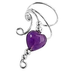 Sterling Silver Left Only Purple Amethyst Heart Wave Ear Cuff Wrap ** To view further, visit