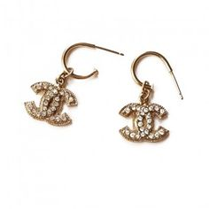 Chanel CC Silver Rhinestone Lt Gold Piercing  Earrings