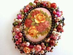 Beaded Floral Cameo Brooch by jenum24 on Etsy, $55.00