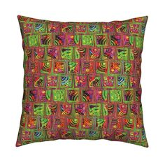 Catalan Throw Pillow featuring CRAZY ICE CUBES RAINBOW CANDY PARADISE orange green by paysmage   Roostery Home Decor