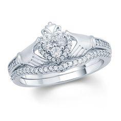 Diamond Claddagh Wedding Ring Sets - Ct T W Diamond Claddagh Bridal Set Claddagh Engagement Ring, Diamond Claddagh Ring, Claddagh Rings, Antique Engagement Rings, Claddagh Wedding Ring, Solitaire Engagement, Diamond Rings, Diamond Wedding Bands, Wedding Rings
