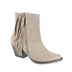 MIA Shoes Jerry Fringe Bootie in Stone GG878-STONE