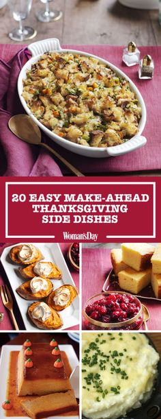 These mouthwatering make-ahead Thanksgiving side dishes will give you a head start and help ease pre-meal craziness in the kitchen. Prepare delicious side dishes like twice-baked sweet potatoes prior to Thanksgiving Day so you have a little more time to relax with the family and watch football!