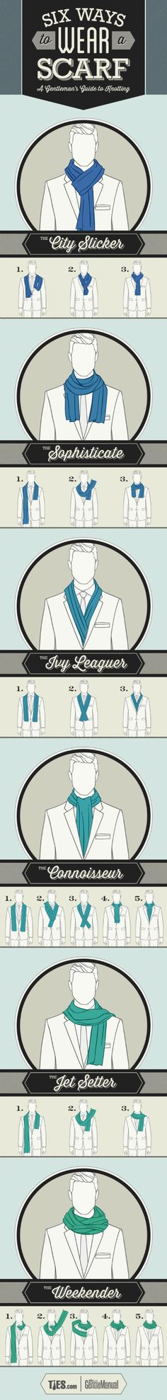 Ways to tie a scarf for gentlemen. I think the ladies can pull off most of these too.