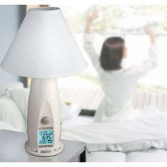 This lamp/alarm clock provides the most pleasant wake-up possible. Rise & Shine lamp slowly brightens and the high-fidelity speaker increases volume over 5-60 minute