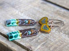 Aqua Tips  Ceramic Earrings. Beaded by GillsHandmadeJewels on Etsy