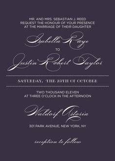 Wedding Invitations - like the light text on dark background