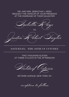 Wedding Invitations - like the light text on dark background