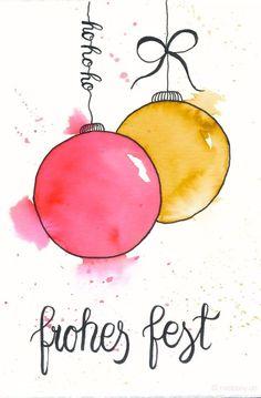 Last Minute Karten zu Weihnachten selber machen   Watercolor Christmas Card with Ornaments   frohes fest
