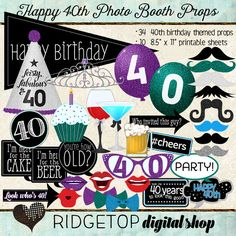 Photo Booth Props HAPPY 40TH BIRTHDAY by RidgetopDigitalShop