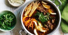 With an assortment of exotic mushrooms and beef, this Korean-style soup is a hearty top pick for the cooler months!