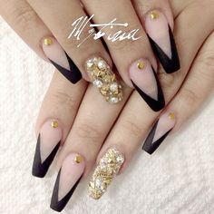 Black and gold bling negaitve space nails. Instagram media by nailsbymztina #nail #nails #nailart