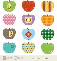 Apples Clip Art Set-retro apples various styles от dariakonik