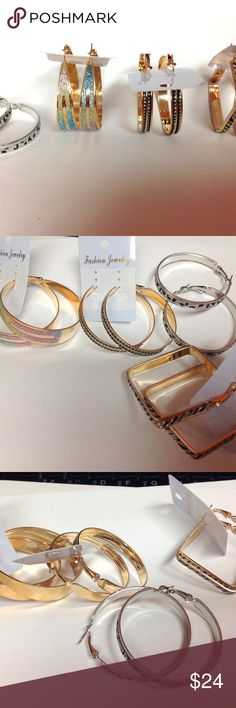 NWOT Buy them all for $24 or pick individual buy all 4 hoop earrings for $24.00 or pick individual earrings and make an offer. new without tags 1 pair of silver metal 1 pair gold metal zebra stripe (square) 1  pair gold metal with black and white double line design 1 pair gold metal wide hoop earrings with ombre style design  All items kept in a smoke free pet friendly home. Jewelry Earrings