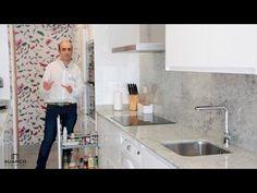Cocina blanca laca sin tirador Moderna y estrecha con encimera de granito warwick - YouTube