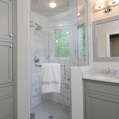 Gray Bathroom, Contemporary, bathroom, Benjamin Moore Fieldstone, Kitchen Studio of Glen Ellyn
