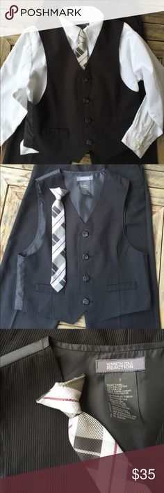 💙 Little Boy Outfit Size 7 Little Boy Outfit Size 7.  Black pinstripe pants (a little wrinkled) w/ adjustable waistband, matching vest, and coordinating button down shirt and clip on tie.  Overall very nice condition, with the following exception;  I consider the shirt a throw in...and the shirt does have several stains on the arm, as can be seen in second to last picture. Kenneth Cole Reaction Matching Sets