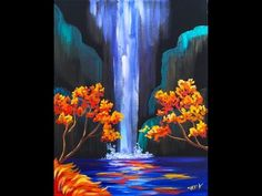 Autumn Aloha Tropical Waterfall Step by Step Acrylic Painting on Canvas for Beginners - YouTube