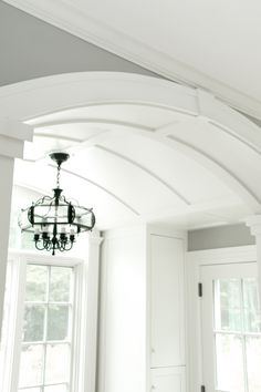 Banding that is connected with cross bands for hanging fixture or just added interest. Accent Ceiling, Ceiling Trim, Ceiling Detail, Home Ceiling, Ceiling Design, Ceiling Ideas, Barrel Ceiling Entry, Barrel Vault Ceiling, Porte Cochere