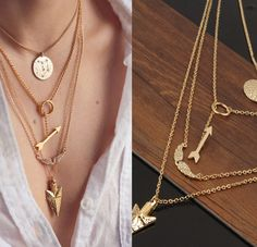 Multilayer Arrow/Wings Necklace | Costume Jewelry