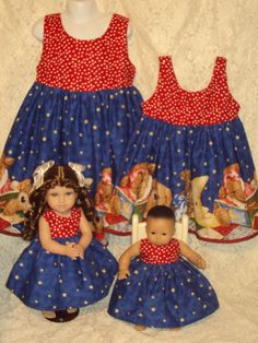 Storybook Bears  Matching dresses for Child sz 2 3 4 5 6 7 Bitty Baby / American Girl Doll  sewnbyrachel, $29.99