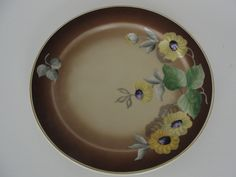 """Vintage 7 3/4"""" Hand Painted Roloff German Porcelain Plate with Flowers by marketsquareus on Etsy"""