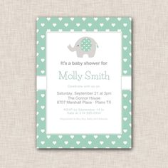 Girl Baby Shower Elephant Invitation with mint and grey lettering, green and white hearts (071b)