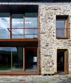 House Refurbishment in Baralla / OLAestudio Architecture Renovation, Concept Architecture, Architecture Details, Villa Design, House Design, Country Modern Home, Stone Interior, House Landscape, Stone Houses