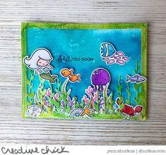 Jenn's Colorful Sea You Soon Card!   Lawn Fawnatics