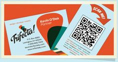 Trifecta - Great way to call out to the QR code on this business card. Large orange arrow informs you that the code should be scanned.