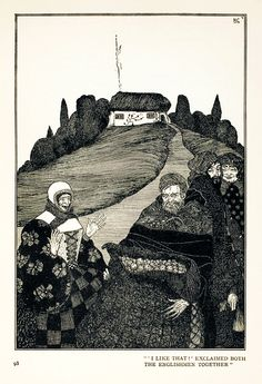 "10a.  ""'I like that!' exclaimed both the Englishmen together.""  --- WHAT THE OLD MAN DOES.  (p.98)    --- Harry Clarke Illustrations: Fairy Tales by Hans Christian Andersen"