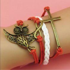 INFINITY BRACELET Leather w charms as shown. Adj from 7 to 9 inches. Jewelry Bracelets