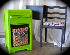 Laura Camry Boutique~It is so easy to add a little pop of color to your space.  This little side table has been refinished in an apple green.  We removed the door and added a basket to give it more character.  The telephone desk got a new coat of paint and updated fun fabric.  This set is affordable and funky! Find it at http://www.facebook.com/lauracamryboutique
