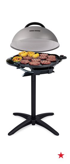 Grill all year round with this versatile dome-covered George Foreman! It works on your indoor counter AND outside on its included stand.