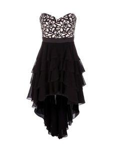 BEAUTIFUL!!!! Lipsy V I P Strapless Cutwork Detail Ruffle Dress