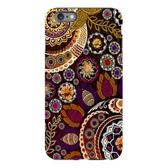 Fall Paisley iPhone 6 6s Plus TOUGH Case - Autumn Mehndi - Orange, Purple and Brown Paisley Floral - Artistic iPhone 6 6s Plus case